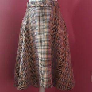 Anthropologie Odille Plaid Wool Mix Full Skirt